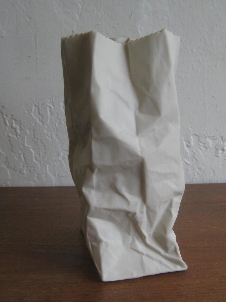 Pop Art Porcelain Paper Bag Vase Sculpture by Hawaii's Ceramic Art Studio For Sale 4