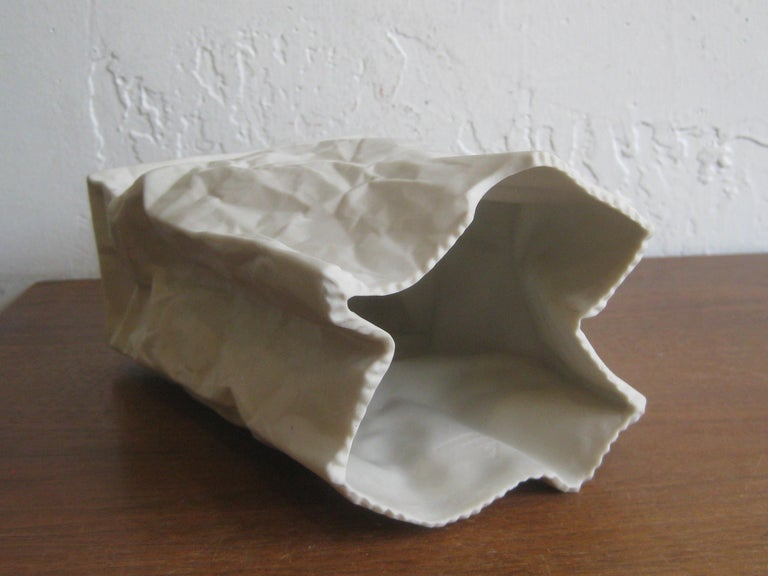 Pop Art Porcelain Paper Bag Vase Sculpture by Hawaii's Ceramic Art Studio For Sale 5