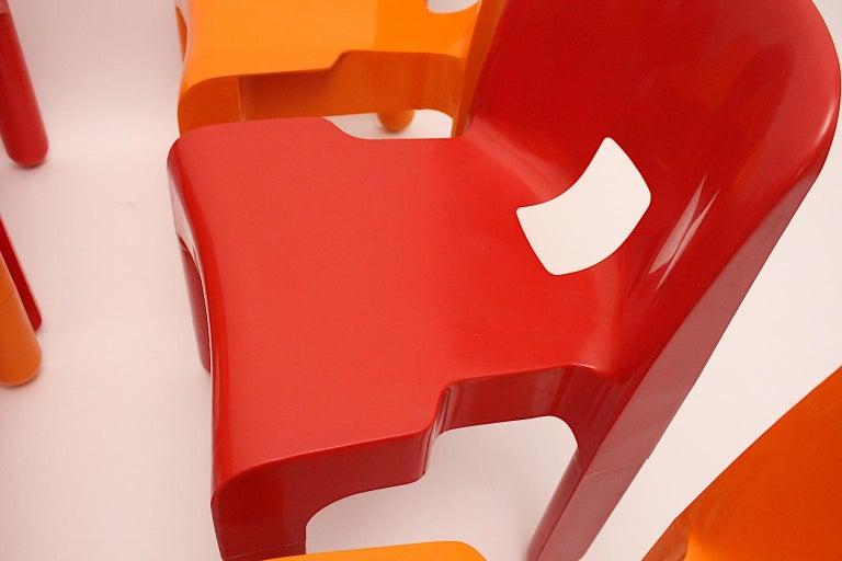 Pop Art Space Age Red Orange Six Plastic Vintage Chairs Joe Colombo Italy c 1965 5