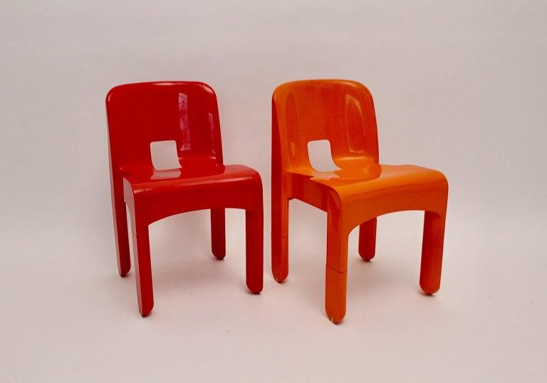 Pop Art Space Age Red Orange Six Plastic Vintage Chairs Joe Colombo Italy c 1965 6