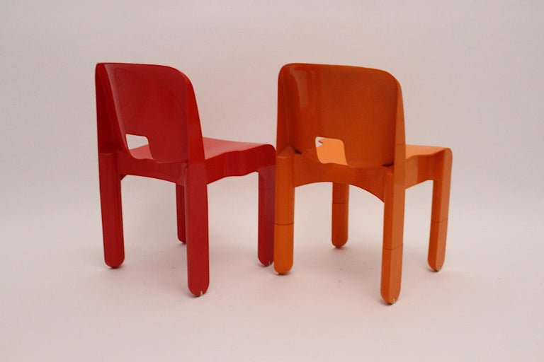 Pop Art Space Age Red Orange Six Plastic Vintage Chairs Joe Colombo Italy c 1965 7