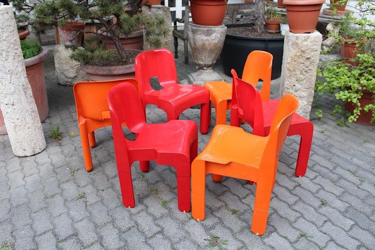 Pop Art Space Age Red Orange Six Plastic Vintage Chairs Joe Colombo Italy c 1965 8