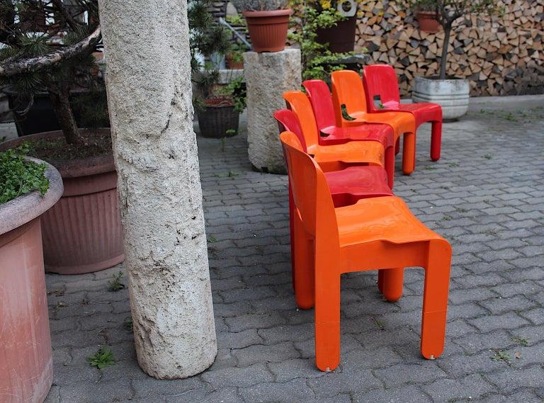 Pop Art Space Age Red Orange Six Plastic Vintage Chairs Joe Colombo Italy c 1965 9