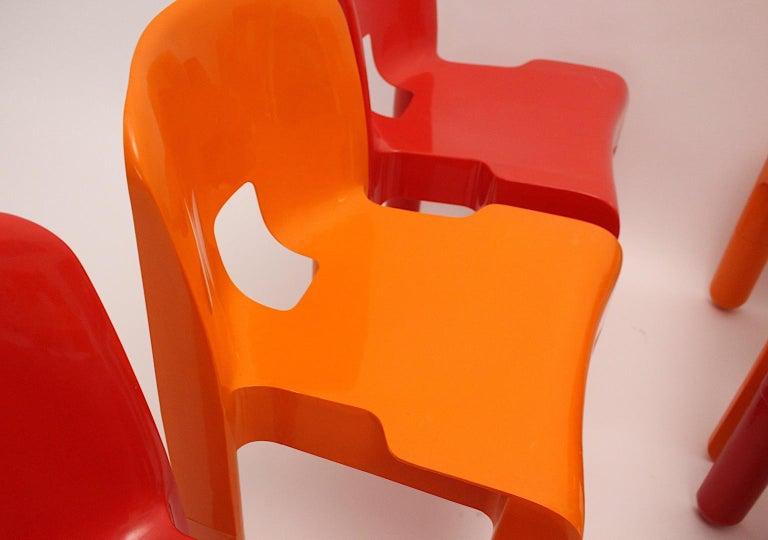 Pop Art Space Age Red Orange Six Plastic Vintage Chairs Joe Colombo Italy c 1965 10