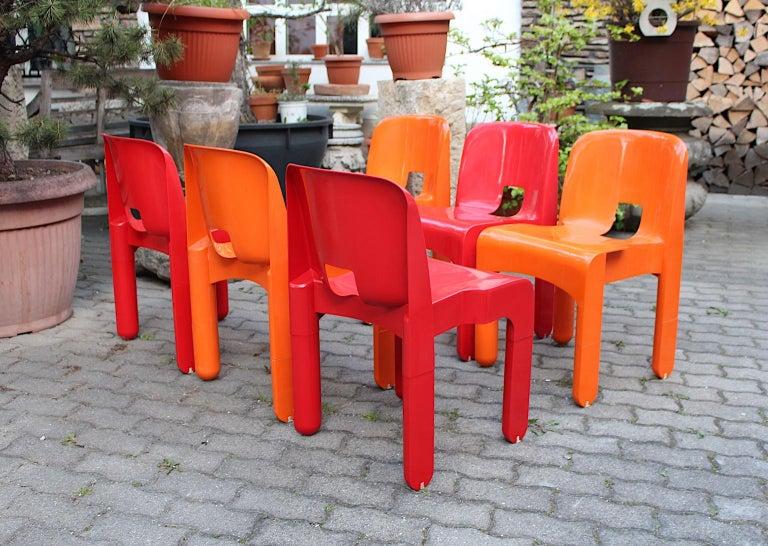 Pop Art Space Age Red Orange Six Plastic Vintage Chairs Joe Colombo Italy c 1965 11
