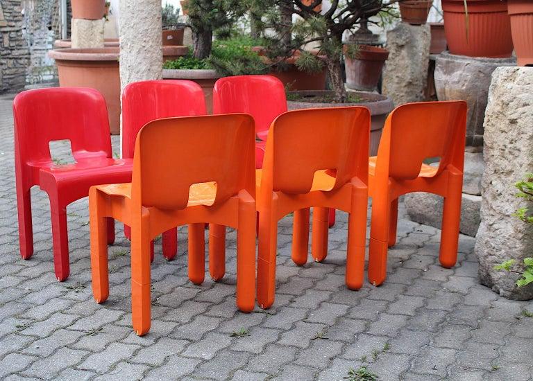 Pop Art Space Age Red Orange Six Plastic Vintage Chairs Joe Colombo Italy c 1965 12