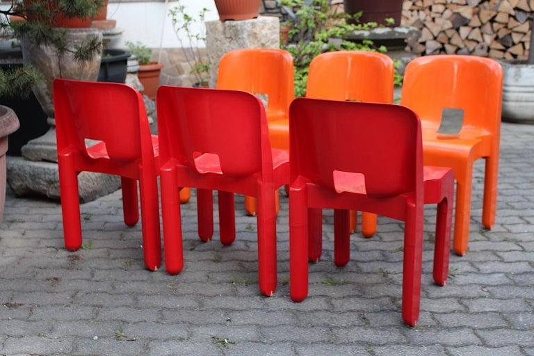 Pop Art Space Age Red Orange Six Plastic Vintage Chairs Joe Colombo Italy c 1965 13