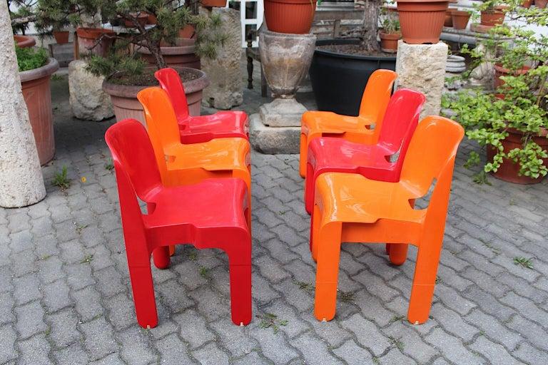 Pop Art Space Age Red Orange Six Plastic Vintage Chairs Joe Colombo Italy c 1965 14