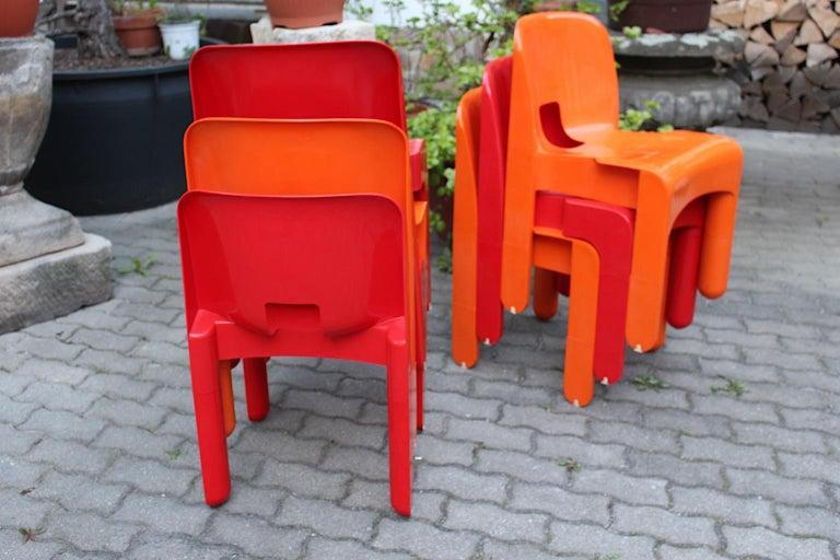 Italian Pop Art Space Age Red Orange Six Plastic Vintage Chairs Joe Colombo Italy c 1965