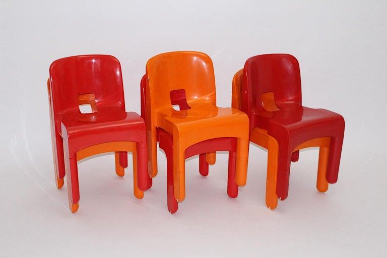 Mid-20th Century Pop Art Space Age Red Orange Six Plastic Vintage Chairs Joe Colombo Italy c 1965