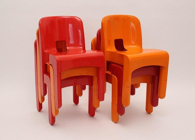 Pop Art Space Age Red Orange Six Plastic Vintage Chairs Joe Colombo Italy c 1965 1