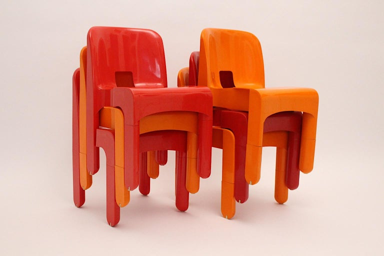 Pop Art Space Age Red Orange Six Plastic Vintage Chairs Joe Colombo Italy c 1965 2