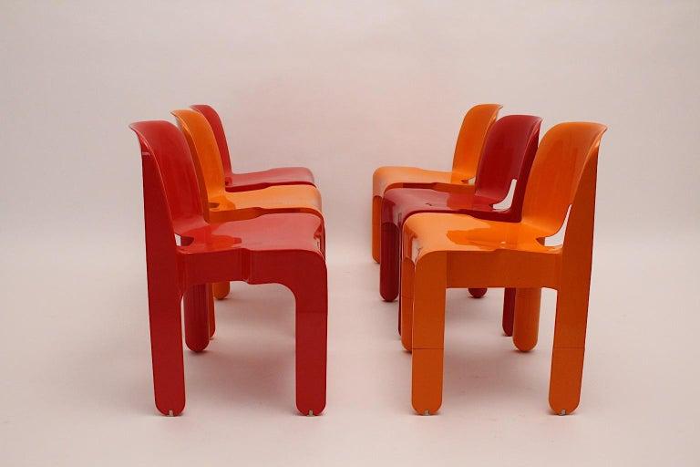 Pop Art Space Age Red Orange Six Plastic Vintage Chairs Joe Colombo Italy c 1965 3