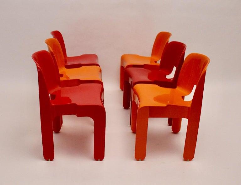 Pop Art Space Age Red Orange Six Plastic Vintage Chairs Joe Colombo Italy c 1965 4