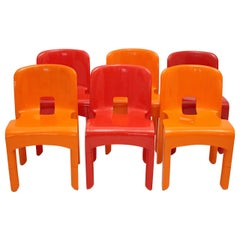 Pop Art Space Age Red Orange Six Plastic Vintage Chairs Joe Colombo Italy c 1965