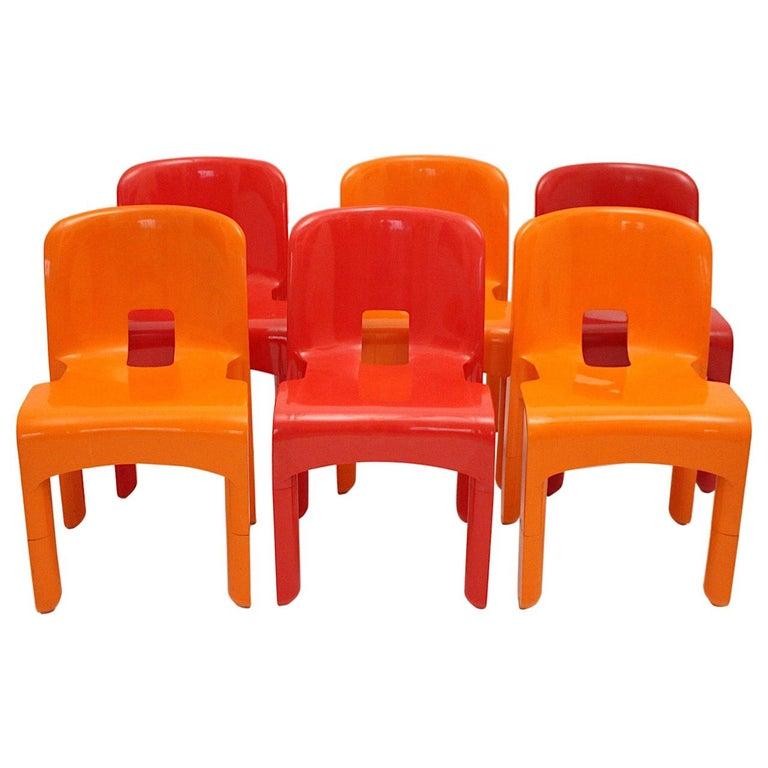 Pop Art Space Age Red Orange Six Plastic Vintage Chairs Joe Colombo Italy c 1965