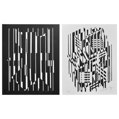 Pop Art Victor Vasarely Black and White Optical Prints