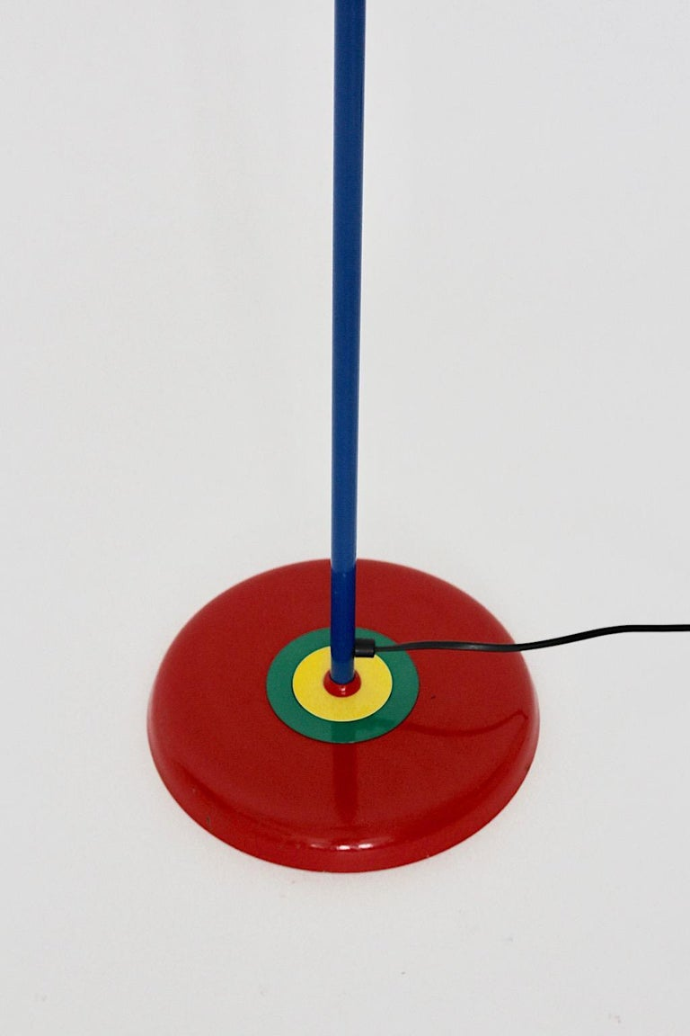 Italian Pop Art Vintage Red Blue Green Yellow Floor Lamp Memphis Style, 1980s, Italy For Sale