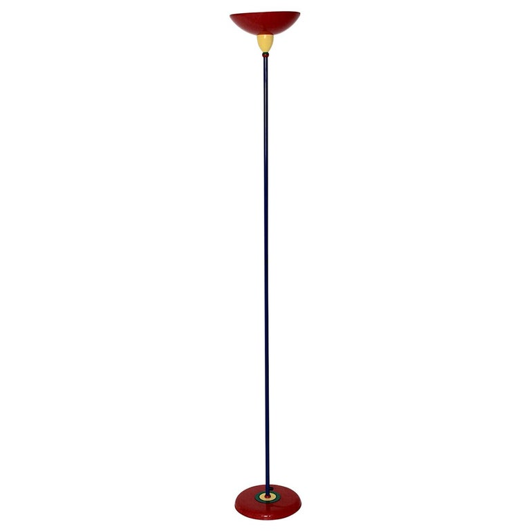 Pop Art Vintage Red Blue Green Yellow Floor Lamp Memphis Style, 1980s, Italy For Sale