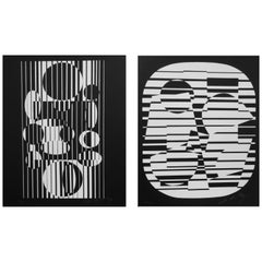 Pop Artist Victor Vasarely Black and White Optical Prints