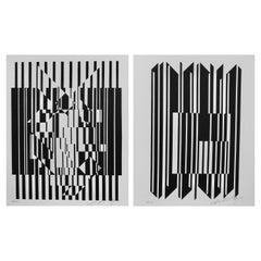Pop-Künstler Victor Vasarely optische schwarzweiß Drucke