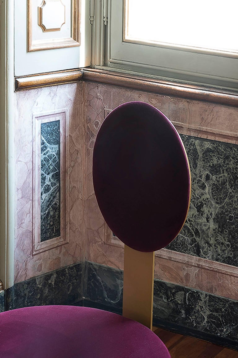 Italian Pop Chair in Satin Brass Finish and Red Burgundy Velvet by Artefatto Bespoke For Sale