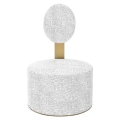 Pop Chenille White Chair  in Satin Brass Finish , Made in Italy