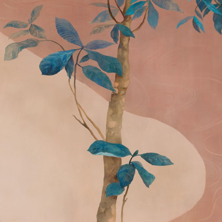 Exotic charm of pastel jungles.  A reinterpretation of the traditional chinoiserie.   Price is related to 1 sheet (100 x 300 cm) Available upon order: we design and execute hand-painted, custom made decorations on paper. Completely