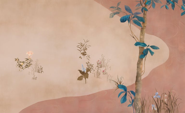 Hand-Painted Pop Chinoiserie, Hand Painted Wallpaper For Sale