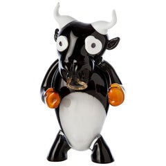 Pop Comic Artistic Murano Glass Sculpture Bull