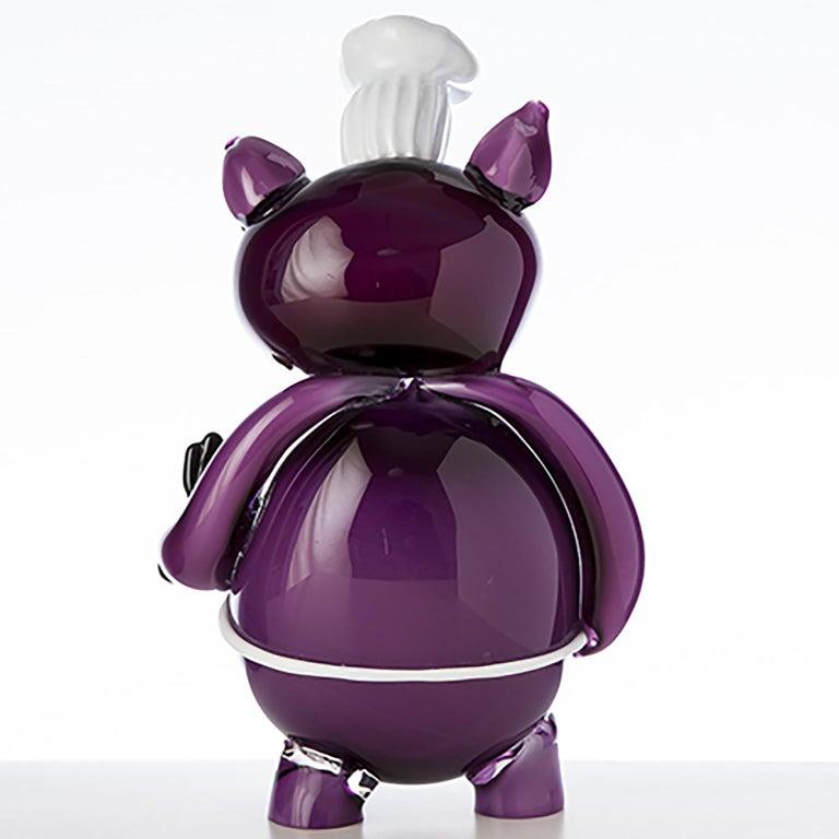 Italian Pop Comic Artistic Murano Glass Sculpture Chef Pork For Sale