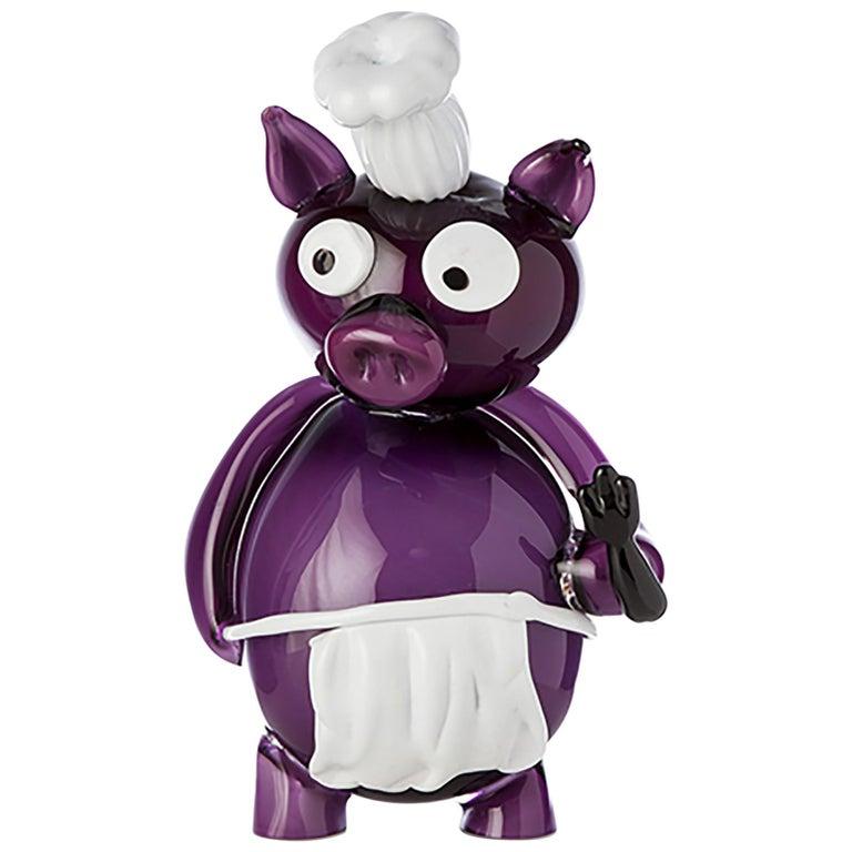 Pop Comic Artistic Murano Glass Sculpture Chef Pork For Sale
