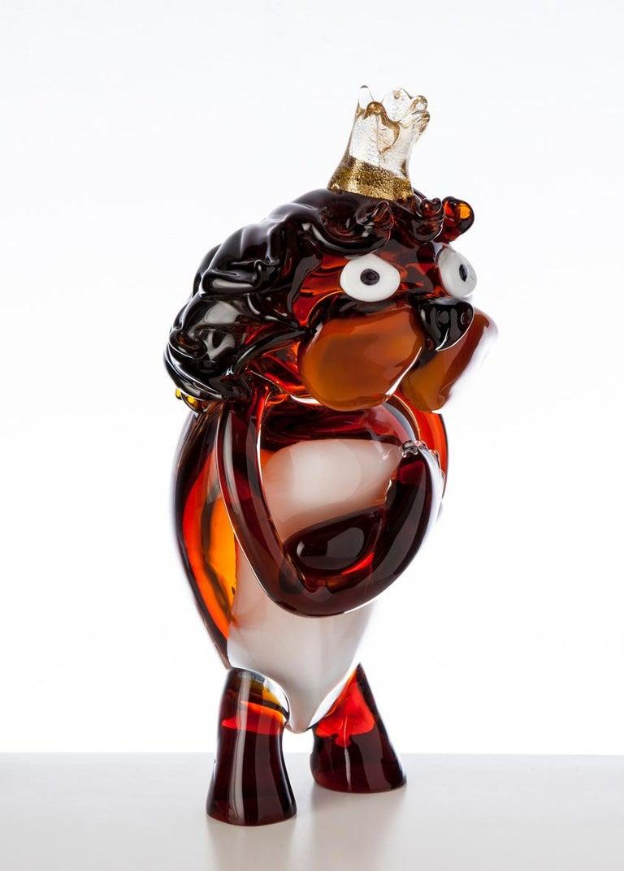 Modern Pop Comic Artistic Murano Glass Sculpture King Lion For Sale