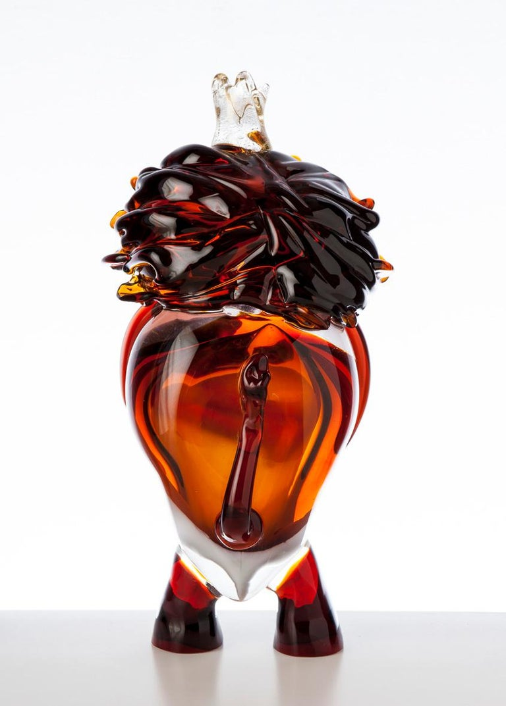 Italian Pop Comic Artistic Murano Glass Sculpture King Lion For Sale