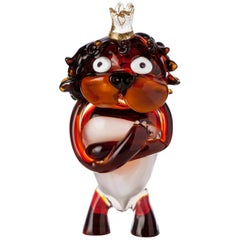 Pop Comic Artistic Murano Glass Sculpture King Lion