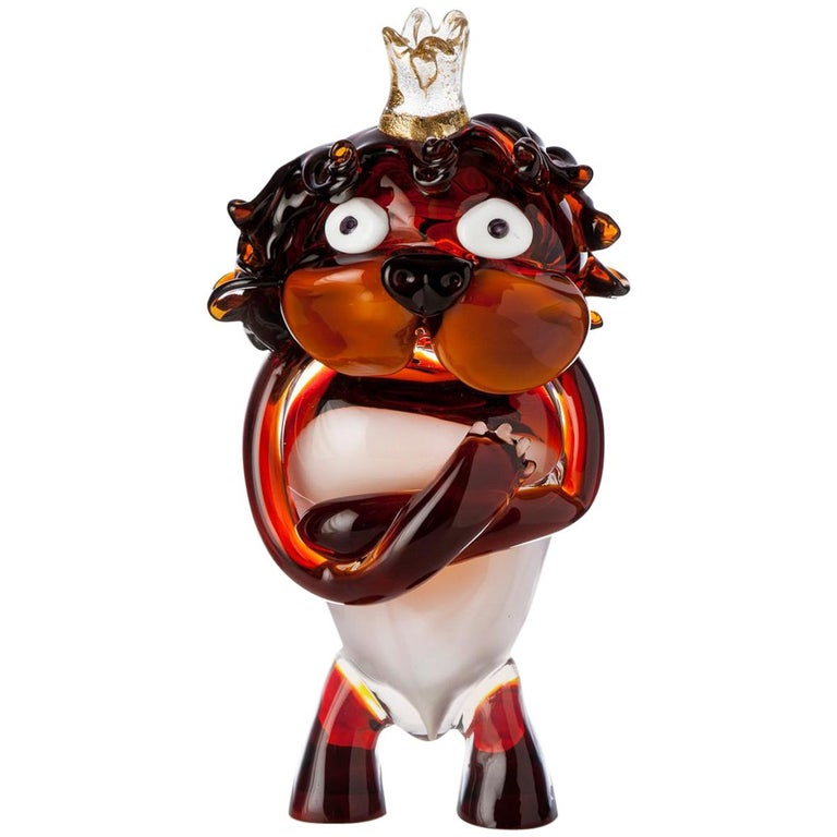 Pop Comic Artistic Murano Glass Sculpture King Lion For Sale