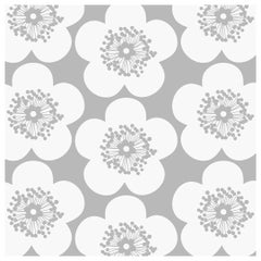 Pop Floral Designer Wallpaper in Greyhound 'Mid Grey on Soft White'