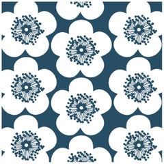 Pop Floral Designer Wallpaper in Color Ink 'Deep Blue on Soft White'