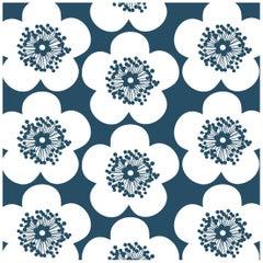 Pop Floral Designer Wallpaper in Ink 'Deep Blue on Soft White'