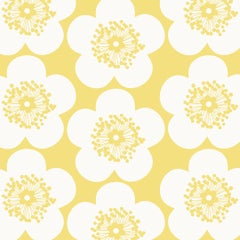 Pop Floral Designer Wallpaper in Lemon 'Yellow on Soft White'