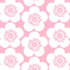 Pop Floral Designer Wallpaper in Color Peony 'Rosey Pink on Soft White'