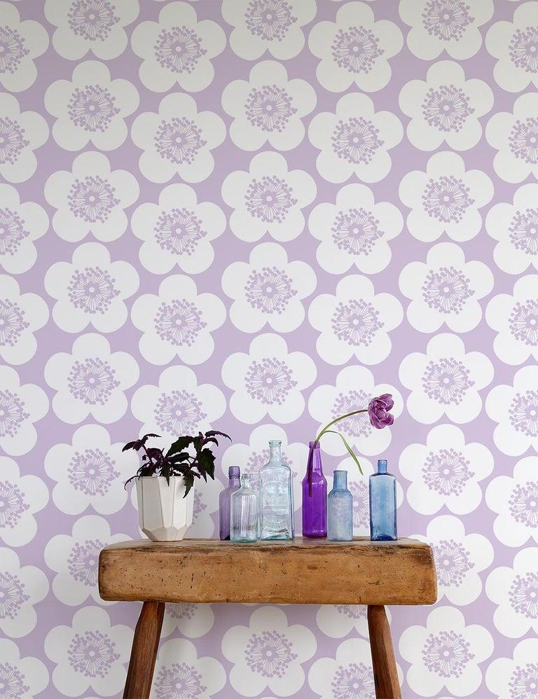 Contemporary Pop Floral Designer Wallpaper in Color Violet 'Lavender Purple on Soft White' For Sale