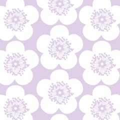 Pop Floral Designer Wallpaper in Color Violet 'Lavender Purple on Soft White'