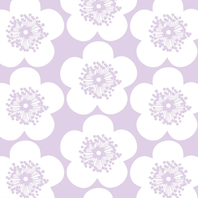 Pop Floral Designer Wallpaper in Color Violet 'Lavender Purple on Soft White' For Sale