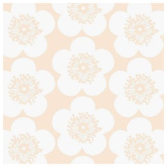 Pop Floral Designer Wallpaper in Fuzz 'Soft Peach and White'
