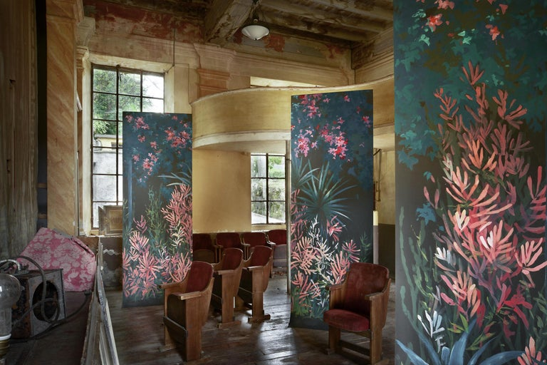 A unique garden blooming in an immersive burst of colour.  Price is related to 1 sheet (100 x 300 cm) Available upon order: we design and execute hand painted, custom made decorations on paper. Completely customizable: colors, foliage
