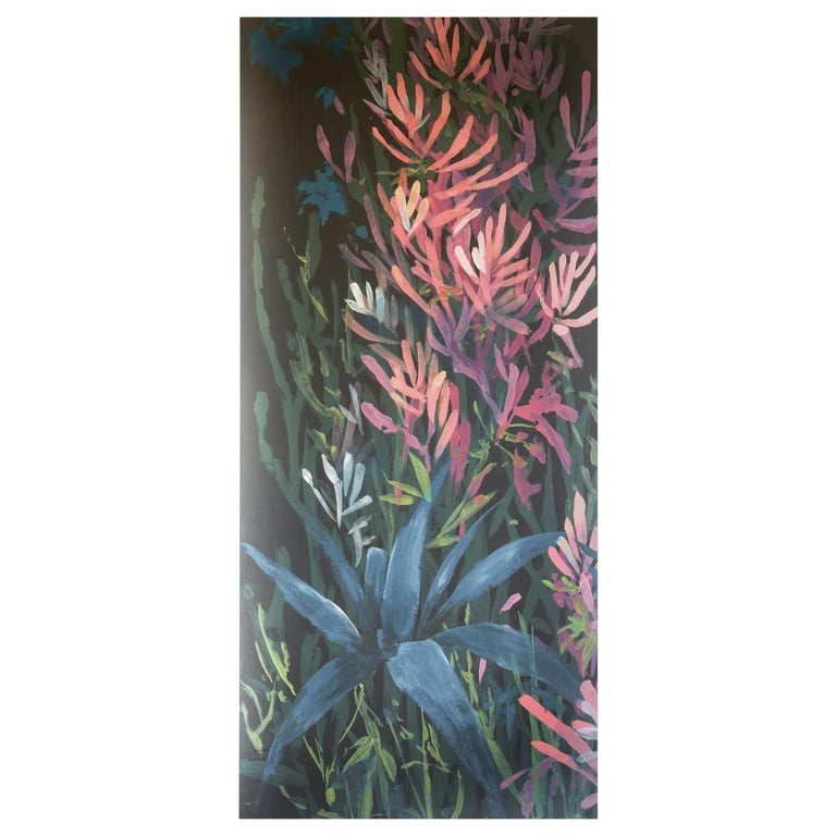 Pop Garden, Hand Painted Wallpaper For Sale