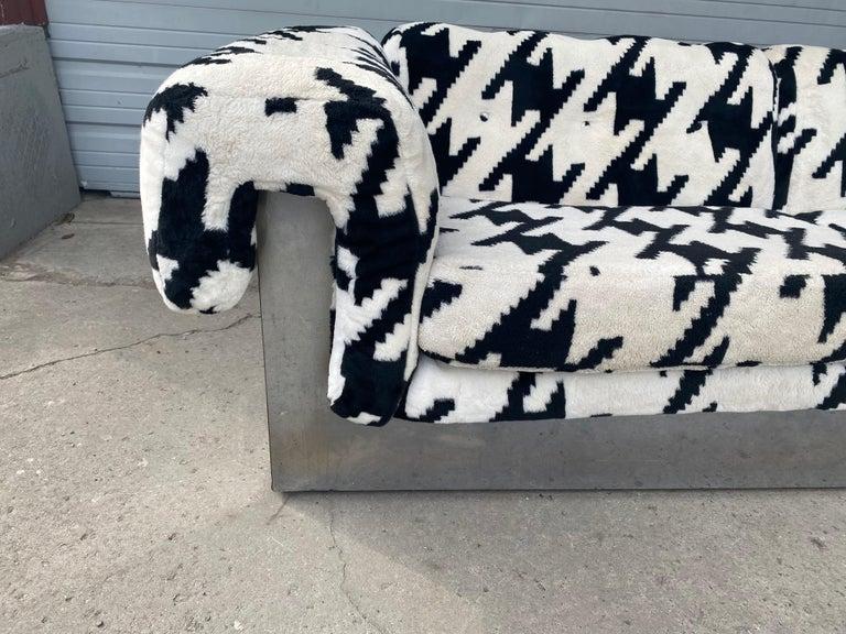 Mid-Century Modern POP Modernist Button Tufted Sofa by Milo Baughman for Thayer Coggin Chrome Wrap For Sale