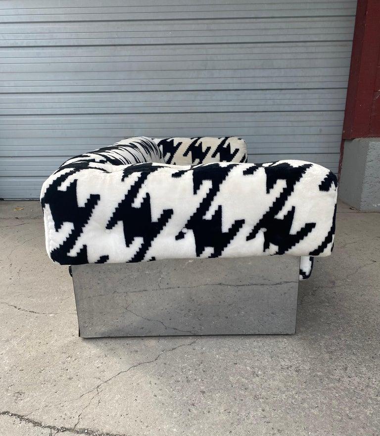 American POP Modernist Button Tufted Sofa by Milo Baughman for Thayer Coggin Chrome Wrap For Sale
