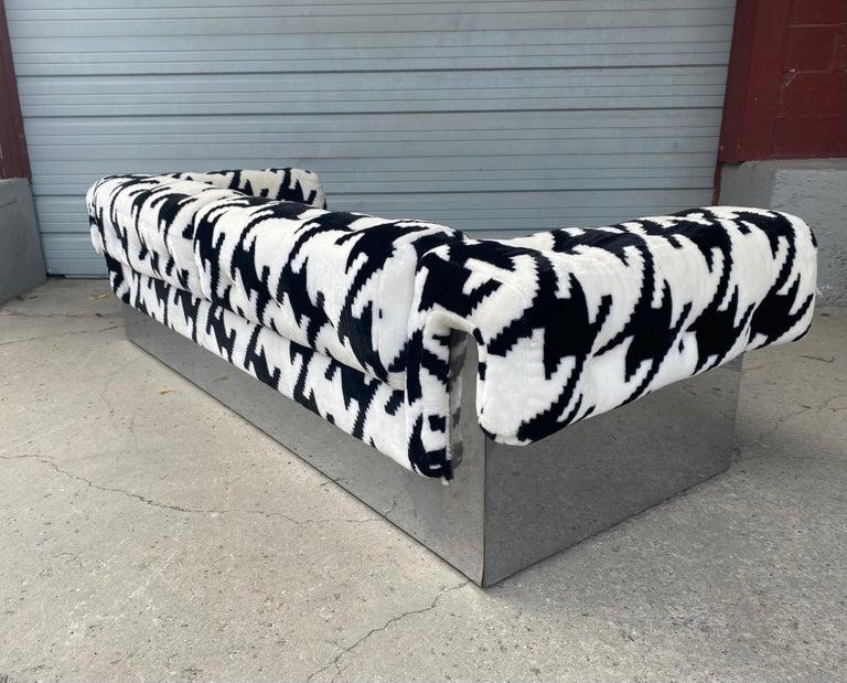 Mid-20th Century POP Modernist Button Tufted Sofa by Milo Baughman for Thayer Coggin Chrome Wrap For Sale